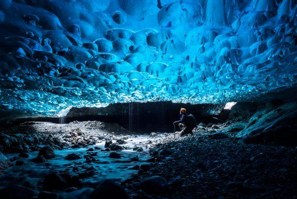 Waterfall Ice Cave Selfie